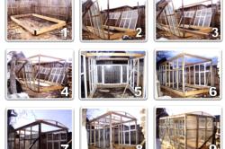 Этапы сборки деревянной теплицы из оконных рам
