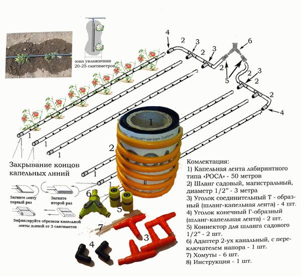 Схема капельного внутрипочвенного полива