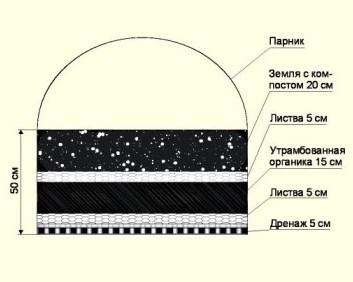 Схема слоев удобрения для теплой грядки