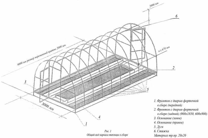 Схема устройства сборной теплицы