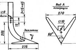 Схема лапы самодельного культиватора