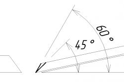 Схема угла заточки лезвия рубанка