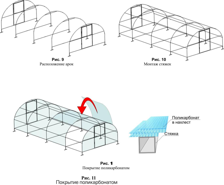 Теплицы из поликарбоната своими руками из профильной трубы чертеж фото