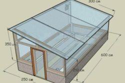Теплица с односкатной крышей